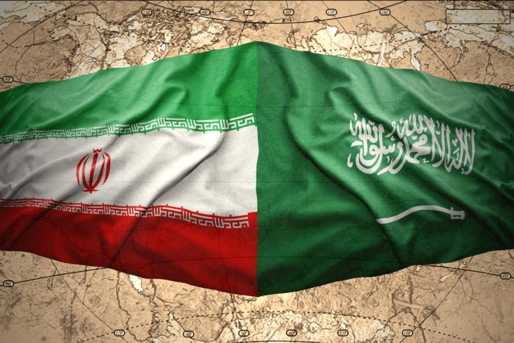 Waving-Saudi-Arabia-Iran-Flag-Map-World
